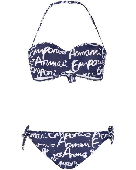 Emporio Armani ロゴプリント ビキニ Blue