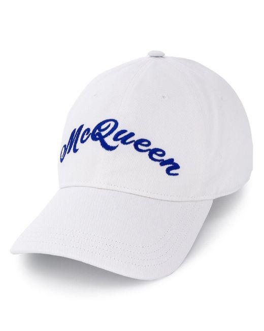 Кепка С Вышитым Логотипом Alexander McQueen для него, цвет: White