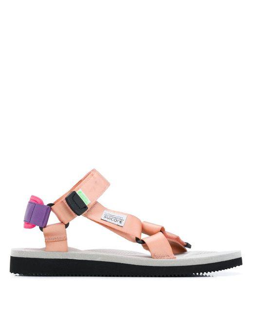 メンズ Suicoke ロゴ オープントゥ サンダル Pink