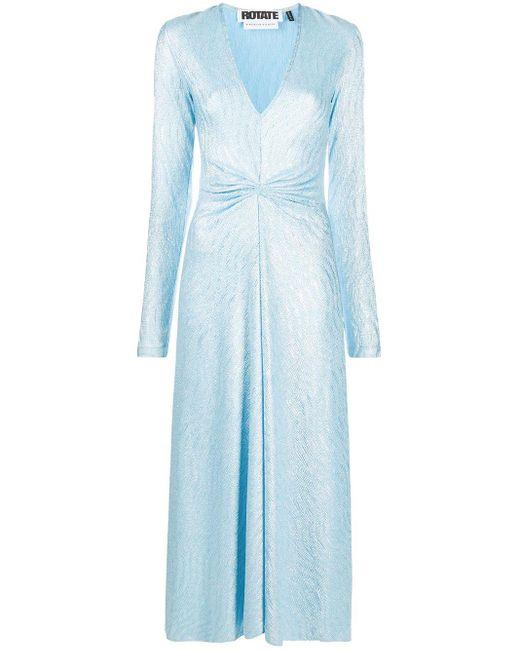 ROTATE BIRGER CHRISTENSEN Sierra Vネック ドレス Blue