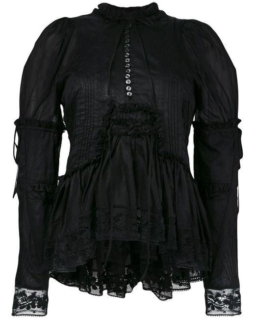 DSquared² Black Ruffle Trim Lace Blouse