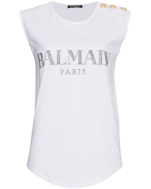Lyst balmain sleeveless logo t shirt in white for Balmain white logo t shirt