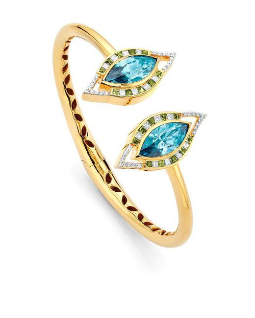 Buddha Mama Evil Eye ダイヤモンド ブレスレット 20kイエローゴールド Blue
