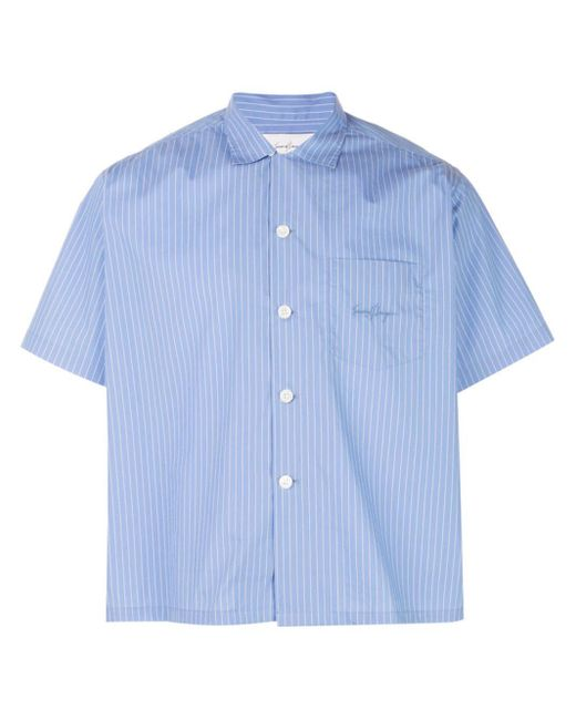 Second/Layer Blue Pinstripe Boxy Fit Shirt for men