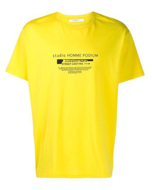 メンズ Givenchy Studio Homme Podium Tシャツ Yellow