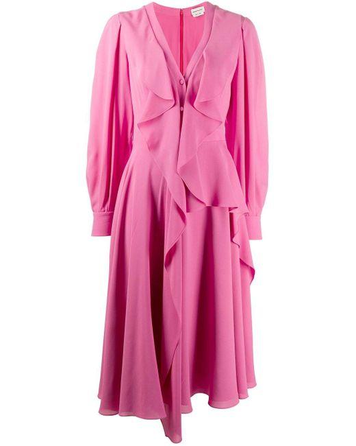 Alexander McQueen ラッフル ドレス Pink