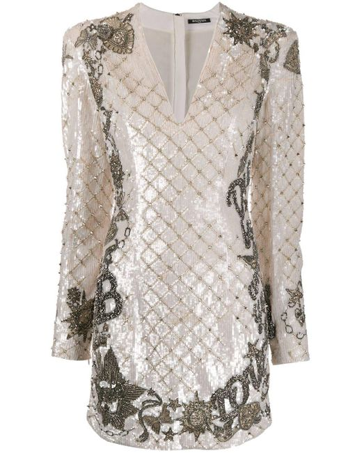 Balmain スパンコール ドレス White
