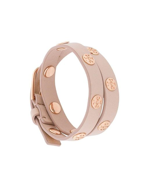 Tory Burch Pink Double-wrap Logo Stud Bracelet