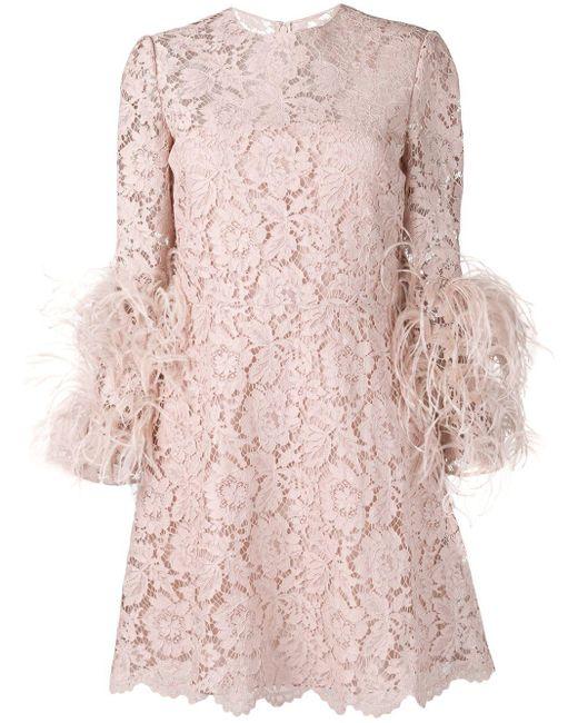Valentino デコラティブ レースドレス Pink