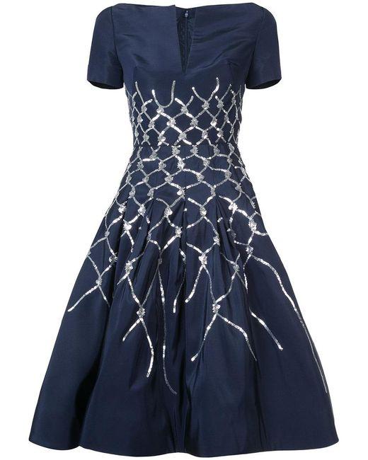 Oscar de la Renta - Blue Sequin Embellished Flared Dress - Lyst