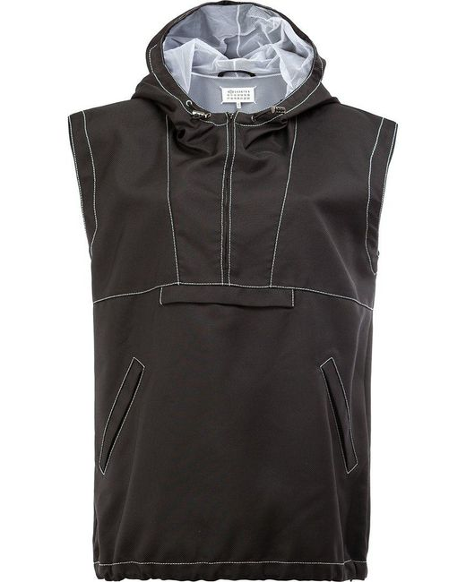 Maison Margiela | Black Half Zip Hooded Jacket | Lyst