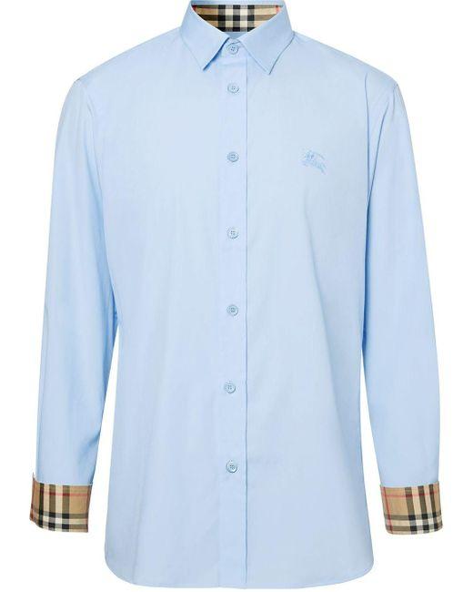 メンズ Burberry チェックカフス シャツ Blue