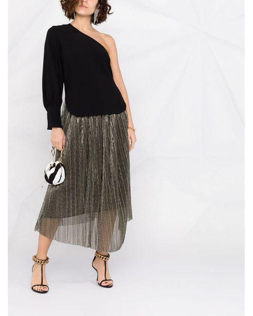 Erika Cavallini Semi Couture ワンショルダー トップ Black