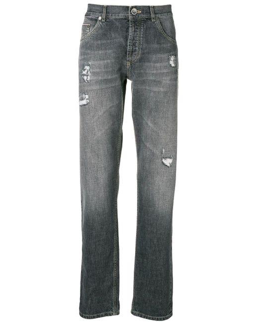 メンズ Brunello Cucinelli Distressed Straight Leg Jeans Gray