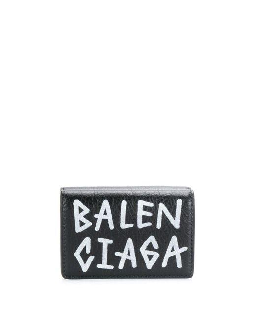 メンズ Balenciaga キャリー ミニウォレット グラフィティ Black