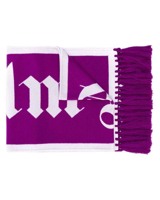 メンズ Palm Angels ロゴ ニット スカーフ Purple