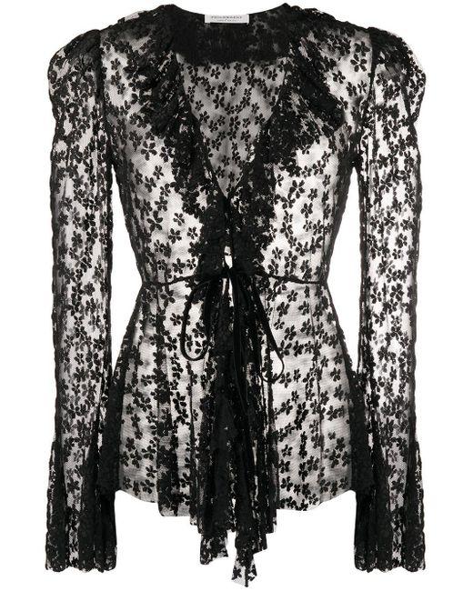 Blusa con paneles de malla floral Philosophy Di Lorenzo Serafini de color Black