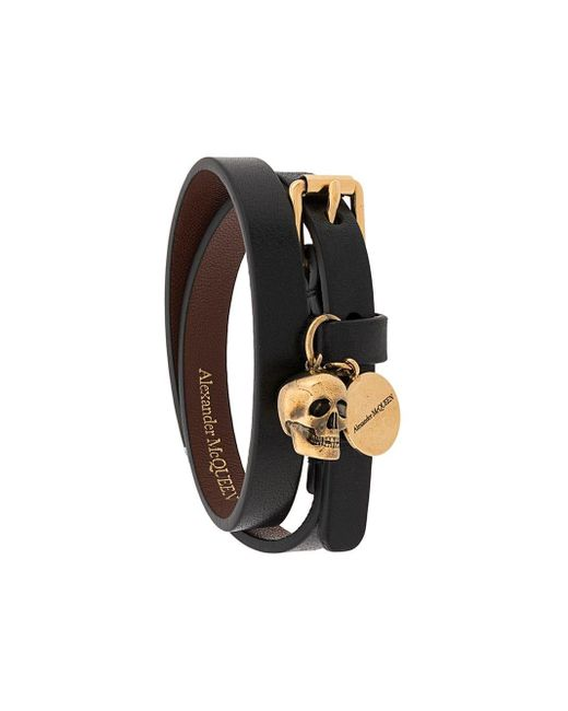 Alexander McQueen Black Double Wrap Bracelet for men