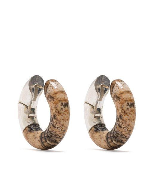 Bottega Veneta Metallic Marble-effect Hoop Earrings