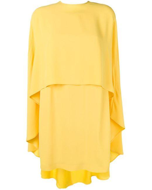 Sara Battaglia ケープディテール ドレス Yellow