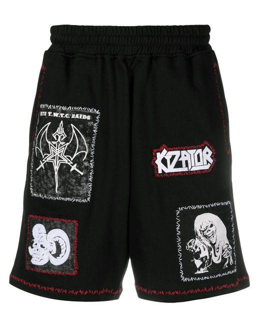KTZ Black Multi-patch Unisex Shorts