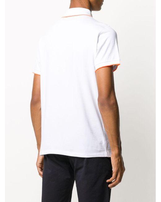 メンズ Karl Lagerfeld コントラストトリム ポロシャツ White