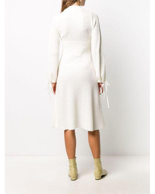 MSGM リブニット ドレス White