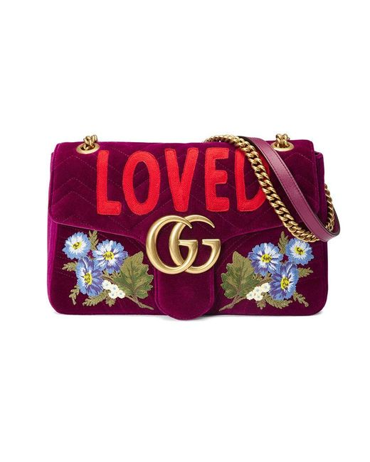 Gucci | Purple Gg Marmont Embroidered Velvet Bag | Lyst