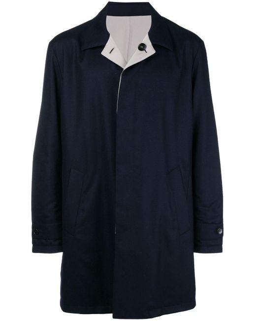 Manzoni 24 Blue Boxy Single-breasted Coat for men