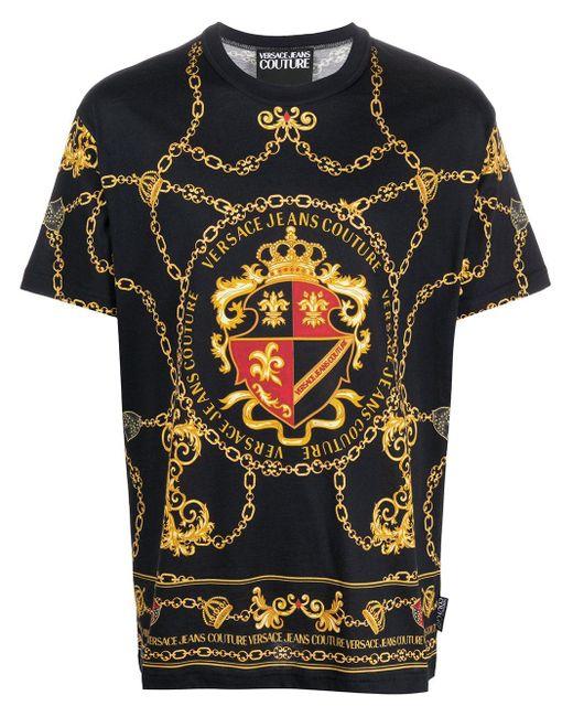 Футболка С Принтом Versace Jeans для него, цвет: Black