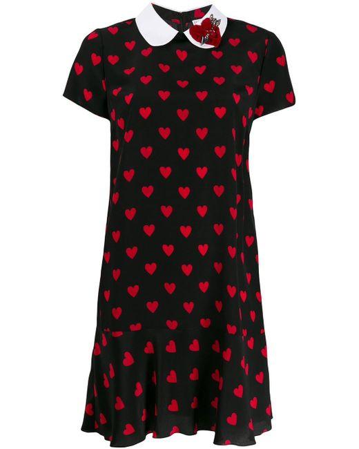 RED Valentino ハート プリント ドレス Black