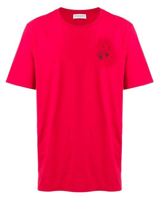 メンズ Saint Laurent プリント Tシャツ Red