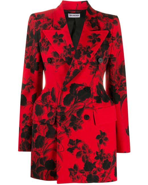 Blazer con motivo floral en jacquard Balenciaga de color Red