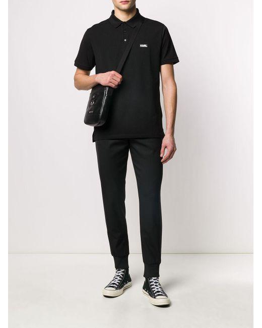 メンズ Karl Lagerfeld ロゴ ポロシャツ Black