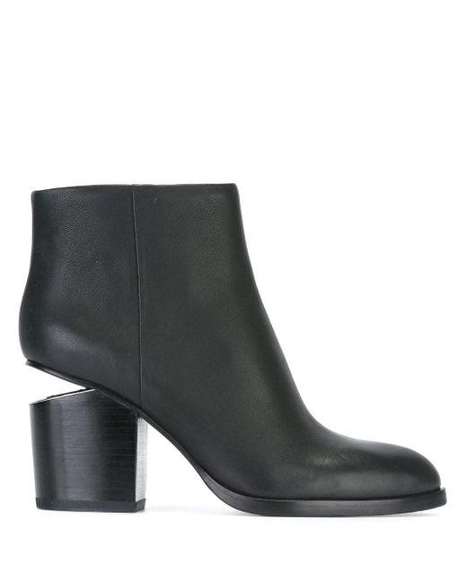 Alexander Wang Black Gabi Leather Silver-Cutout Ankle Boots
