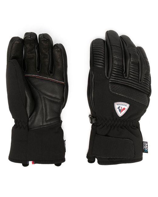Rossignol Black Logo-patch Leather Gloves for men