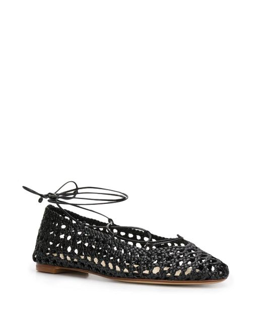 Francesco Russo Black Woven Lace-up Ballerina Shoes