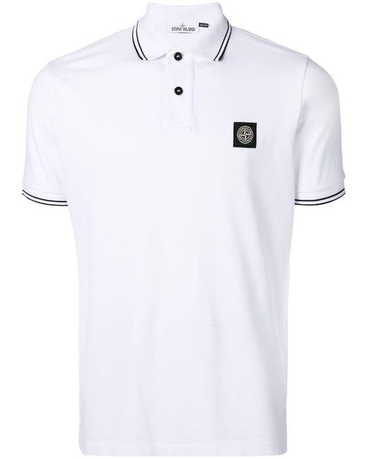 Stone Island - White Logo Short-sleeve Polo Top for Men - Lyst