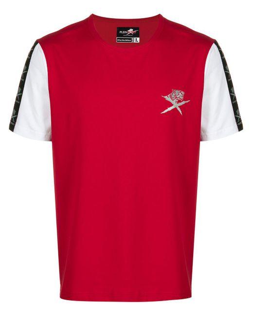 メンズ Philipp Plein コントラストスリーブ Tシャツ Red