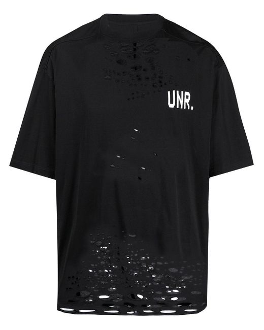 メンズ Unravel Project ダメージ ロゴ Tシャツ Black