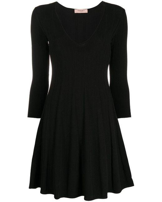 Twin Set プリーツ ニットドレス Black