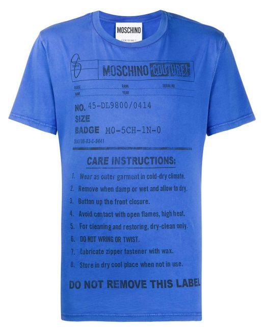 メンズ Moschino プリント Tシャツ Blue