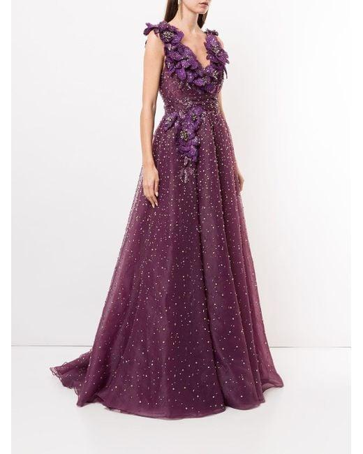 Marchesa フローラル ドレス Purple