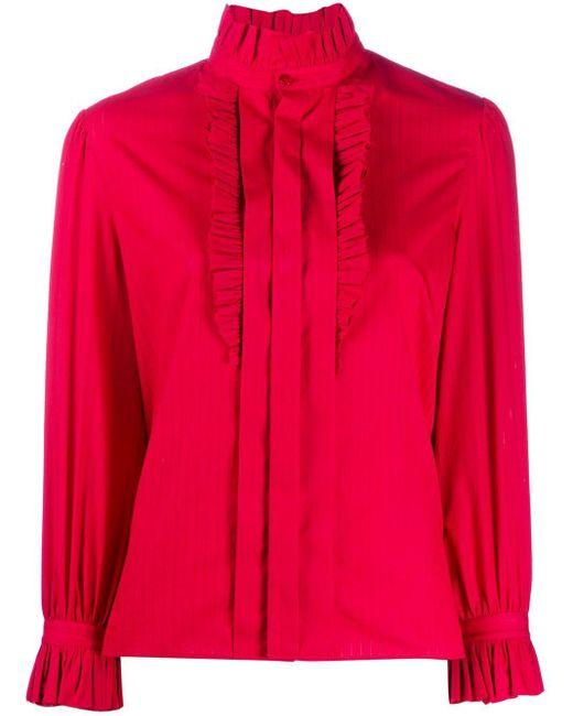 Camisa con cuello con volantes Saint Laurent de color Red