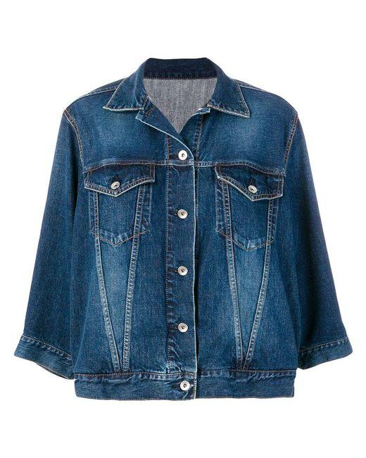 Sacai | Blue Wave Sleeved Denim Jacket | Lyst