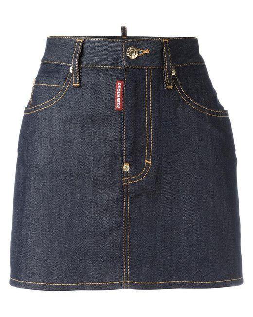 DSquared²   Blue Classic Denim Skirt   Lyst