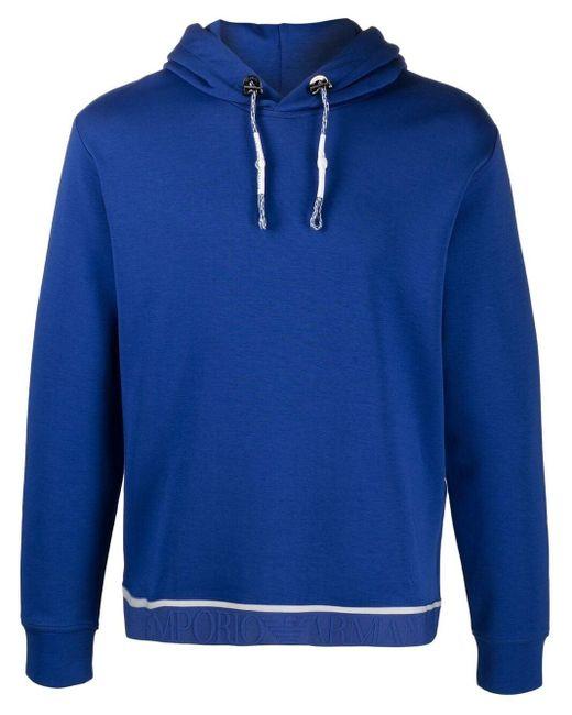 メンズ Emporio Armani ジャカードウエスト スウェットパーカー Blue