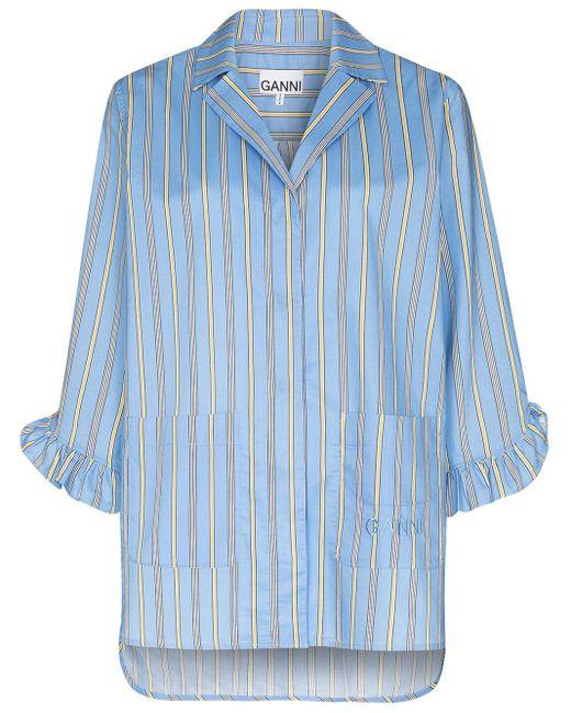 Ganni Blue Vertical-stripe Pyjama Top