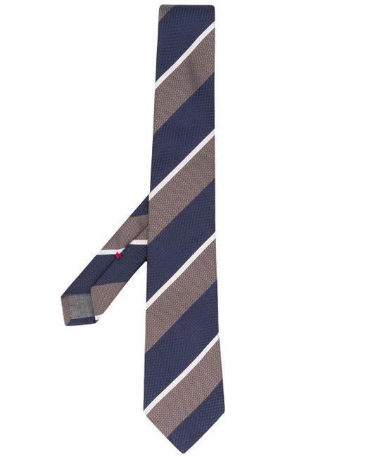 メンズ Brunello Cucinelli マルチストライプ ネクタイ Blue