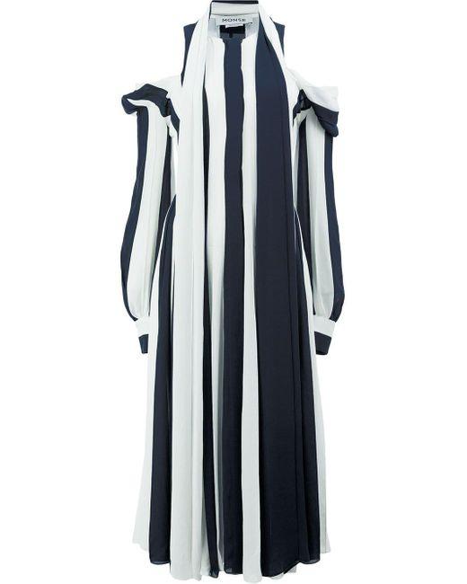 Monse Black Cold-shoulder Stripe Kaftan